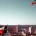 Vintage View Of The Texas And Usa Flags Flying On Top Of Texas State Capitol by Herronstock Prints