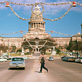 Vintage View Of The Texas State Capitol And Christmas Decorations Strung Along Congress Avenue From December 1960 by Austin Welcome Center