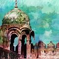 Vintage Watercolor Gazebo Ornate Palace Mehrangarh Fort India Rajasthan 2a by Sue Jacobi
