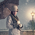 Vintage Woman With Coat Hat And Umbrella Outside In Snow by Lee Avison