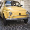 Vintage Yellow Fiat 500 In Rome by Edward Fielding