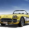 Vintage Yellow 'vette by Douglas Pittman