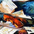 Violin - Palette Knife Oil Painting On Canvas By Leonid Afremov by Leonid Afremov