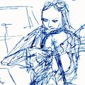 Violinist In Blue II by Ruth Gonzalez