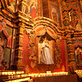 Virgin Mary Statue Candles Mission San Xavier Del Bac by Thomas R Fletcher
