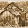 Virginia Country Roads - Mabry Mill No. 23 Sepia - Blue Ridge Parkway, Floyd County by Michael Mazaika