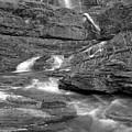 Virginia Falls Glacier Cascades - Black And White by Adam Jewell