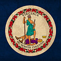 Virginia State Flag Art On Worn Canvas Edition 3 by Design Turnpike