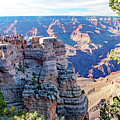 Visitors Dwarfed By Grand Canyon Vista by A Gurmankin
