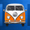 Volkswagen Type - Orange And White Volkswagen T 1 Samba Bus Over Blue Canvas by Serge Averbukh