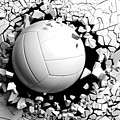 Volleyball Ball Breaking Forcibly Through A White Wall. 3d Illustration. by George Tsartsianidis