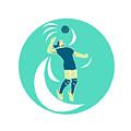 Volleyball Player Spiking High Circle Retro by Aloysius Patrimonio