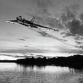 Vulcan Low Over A Sunset Lake Sunset Lake Bw by Gary Eason