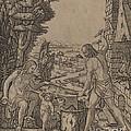 Vulcan, Venus, And Eros by Marcantonio Raimondi