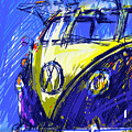Vw Bus Blue by Peter Fogg