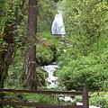 Wahkeena Falls Behind Fence by Charles Robinson