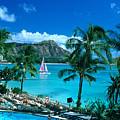Waikiki And Sailboat by Tomas del Amo - Printscapes