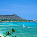 Waikiki And Sailboat by Vince Cavataio - Printscapes