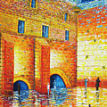 Wailing Wall Original Palette Knife Painting by Georgeta Blanaru