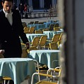 Waiter Preparing For The Day In Piazza San Marco In Venice by Michael Henderson