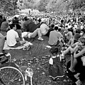 Waiting For Dali Lama Central Park by Dave Beckerman