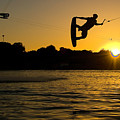 Wakeboarder At Sunset by Andreas Mohaupt