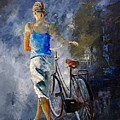 Waking Aside Her Bike 68 by Pol Ledent