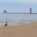 Walk On Lake Michigan by Jost Houk