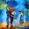 Walking In The Rain by Joy of Life Art Gallery