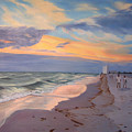 Walking On The Beach At Sunset by Lea Novak