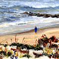 Walking The Beach On Long Beach Island by Pamela Parsons