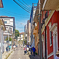 Walking Up Steep Streets In Hilly Valparaiso-chile by Ruth Hager