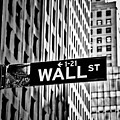 Wall St Sign New York In Black And White by Garry Gay