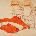 Wally In Red Blouse With Raised Knees by Egon Schiele