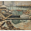 Walter  E  Schofield 1867-1944 Dock With Shed by Artistic Panda