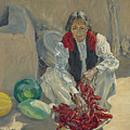 Walter Ufer 1876-1936 Stringing Chili Peppers by Walter Ufer