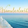 Wanderlust, Santorini Greece Ocean Coastal Sentiment Art by Tina Lavoie