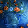 Warm Blue Floral Embrace Painting by Lisa Kaiser