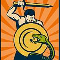 Warrior With Sword Serpent by Aloysius Patrimonio