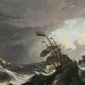 Warships In A Heavy Storm by Ludolf Bakhuizen