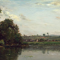 Washerwomen At The Oise River Near Valmondois by Charles-Francois Daubigny