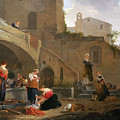 Washerwomen By A Roman Fountain by Thomas Wyck