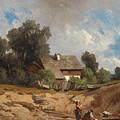 Washerwomen By The River by August Schaeffer von Wienwald
