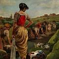 Washerwomen In Candas Asturias Amoros Botella, Antonio by Amoros Botella Antonio
