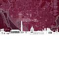 Washington Dc Skyline Map 3 by Bekim Art