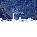 Washington Dc Skyline Map 4 by Bekim Art