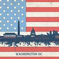 Washington Dc Skyline Usa Flag 3 by Bekim Art