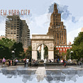 Washington Square Park Greenwich Village With Text New York City by Elaine Plesser