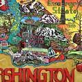 Washington State Map by Patti Schermerhorn