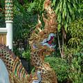 Wat Nam Lom Phra Ubosot Makara And Naga Guardian Dthla0102 by Gerry Gantt